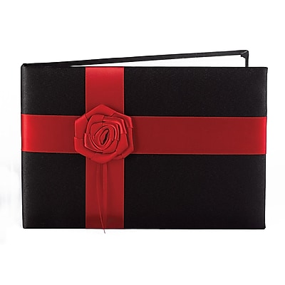 HBH™ Midnight Rose Guest Book, Black and Red