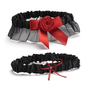 HBH™ Garter Set With Bow and Rhinestone Accent, Midnight Rose