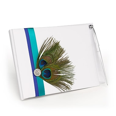 HBH™ Peacock Guest Book With pen, White and Royal Blue