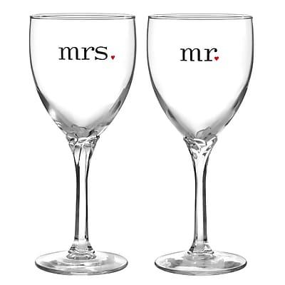 Hortense B. Hewitt, Mr & Mrs Wine Glasses, Clear