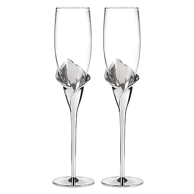 Hortense B. Hewitt, Calla Lily Flute Glasses, Clear/Silver