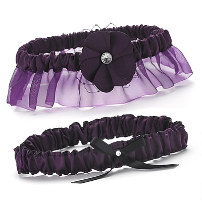 HBH™ Floral Fantasy Keep and Toss Garter Set With Bow and Rhinestone Accent, Eggplant