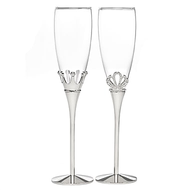 Hortense B. Hewitt, King and Queen Flute Glasses, Clear/Nickel