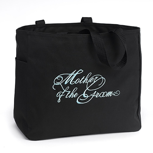 """HBH™ 12"""" x 6 1/2"""" x 14"""" """" Mother Of The Groom"""" Tote Bag, Black"""