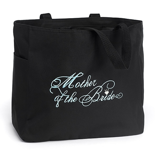 """HBH™ 12"""" x 6 1/2"""" x 14"""" """" Mother Of The Bride"""" Tote Bag, Black"""
