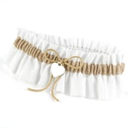 HBH™ Natural Burlap Rustic Romance Garter With White Gathered Cloth Ruffle