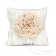 """HBH™ 8"""" x 8"""" Love Blooms Satin Ring Pillow With Layered Flower Adornment, Ivory"""