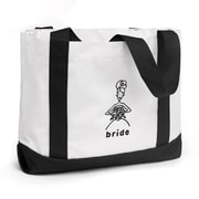 "HBH™ 14"" x 12"" x 5 1/4"" ""Bride"" Canvas Tote Bag With Black Handles, White"