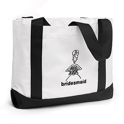 "HBH™ 14"" x 12"" x 5 1/4"" ""Bridesmaid"" Canvas Tote Bag With Black Handles, White"