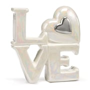 "Hortense B. Hewitt, 4"", Porcelain Love Cake Top With Heart Accent, White/Silver"