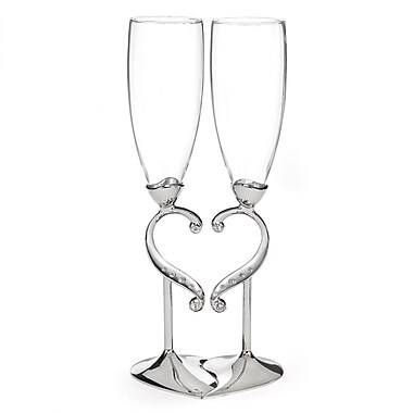 Hortense B. Hewitt, Linked Love Flute Glass, Clear/Nickel
