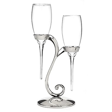 Hortense B. Hewitt, Raindrop Flute Glasses With Swirl Stand, Clear/Nickel