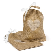 HBH™ Heart Burlap Favor Bags With Twine Drawstring Closure, Brown