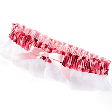 HBH™ Camouflage Garter With Bow and White Chiffon Ruffle, Pink