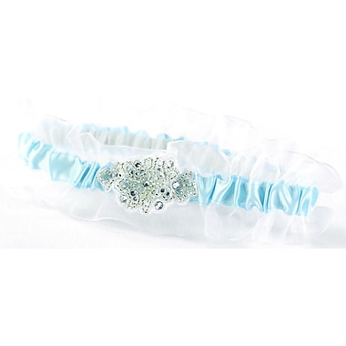 HBH™ Glittering Beads Garter With White Chiffon Ruffle, Blue