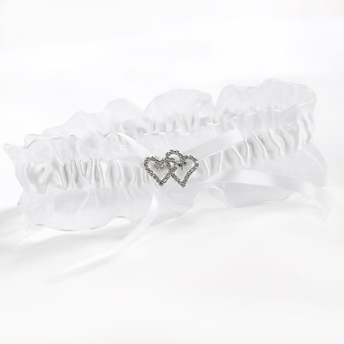 HBH™ White With All My Heart Garter With Satin Bow and a Chiffon Ruffle
