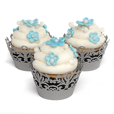HBH™ Decorative Damask Cupcake Wraps, Silver