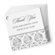 "HBH™ ""Thank You"" Damask Favor Cards, White"