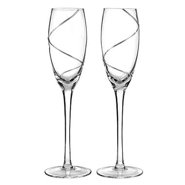 Hortense B. Hewitt, 6-3/4 oz., Silver Swirl Flute Glasses, Clear
