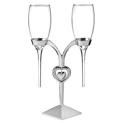 Hortense B. Hewitt, Raindrop Flute Glasses and Holder, Clear/Silver