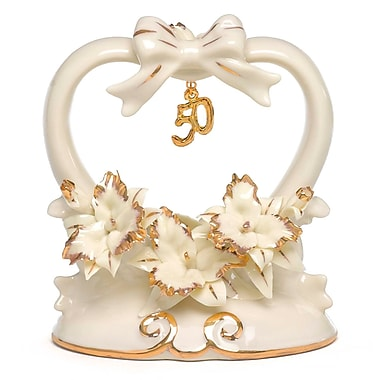Hortense B. Hewitt, 50th Anniversary Porcelain Cake Top With Shiny Gold Accents