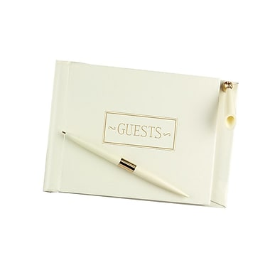 HBH™ Small Guest Book With Pen, Ivory