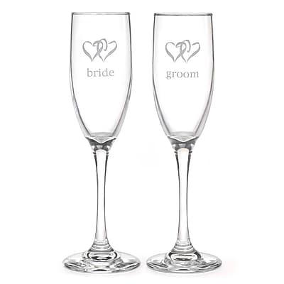 Hortense B. Hewitt, 6 oz., Linked Heart Bride & Groom Flute Glasses, Clear
