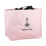 "HBH™ 12"" x 6 1/2"" x 14"" ""Matron Of Honor"" Tote Bag With Black Handles, Light Pink"