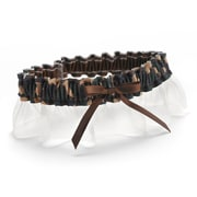 HBH™ Desert Camouflage Garter With Brown Bow and Ivory Chiffon Ruffle