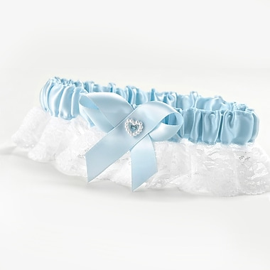 HBH™ Heart and Rhinestone Full Figure Garter With Wide White Lace Ruffle, Blue