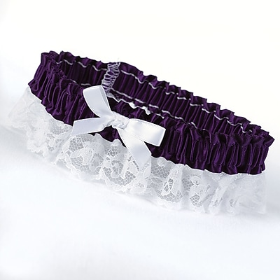 HBH™ Petite Garter With White Bow and Delicate Lace Trim, Grape
