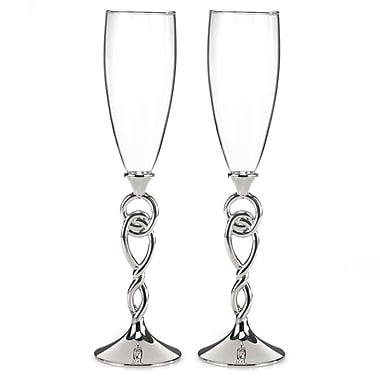 Hortense B. Hewitt, Love Knot Flute Glasses, Clear/Silver