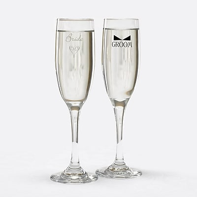 Hortense B. Hewitt, Bride & Groom Flute Glasses With Bow Tie, Clear