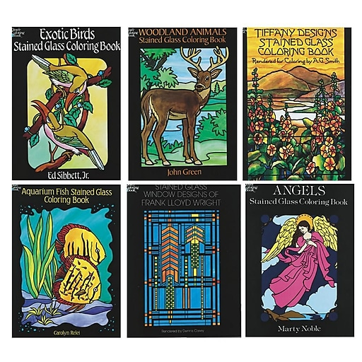 S&S BK1352 Multicolor Stained Glass Coloring Books, 11\