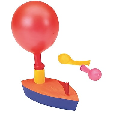 Geeperz™ Wooden Balloon Powered Boat Craft Kit, 12/Pack