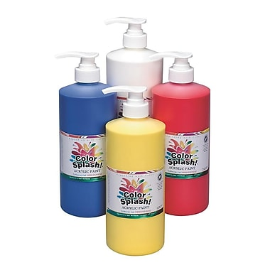 Color Splash® 32 oz. Acrylic Paint Set With Pump, Blue/White/Yellow/Red