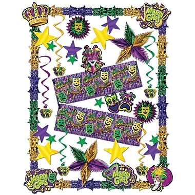 S&S SL1764 Scalloped Mardi Gras Decorating Kit, Multicolor