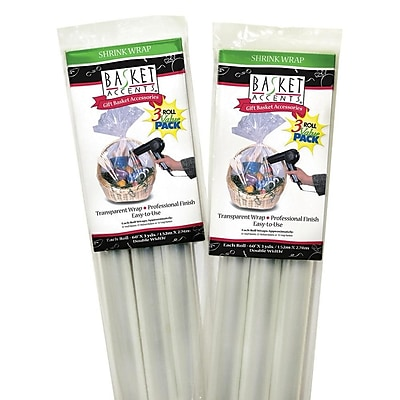 S&S® Clear Cello Shrink Wrap Rolls, 3/Pack
