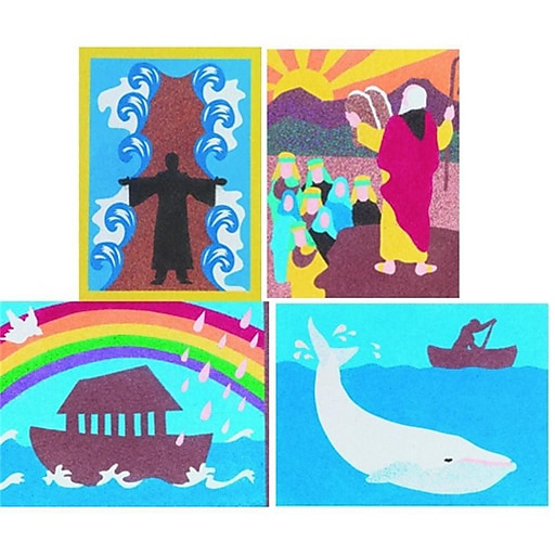 """S&S® 8"""" X 10"""" Bible Stories Sand Art Board, 12/Pack"""