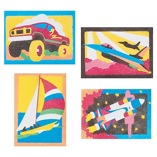 """S&S® 5"""" X 7"""" Getting There Sand Art Board, 12/Pack"""