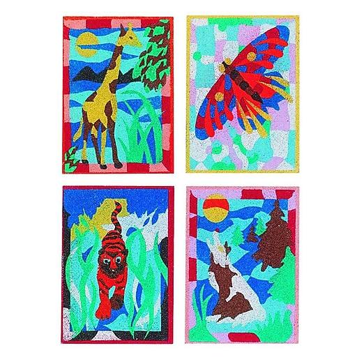 "S&S® 5"" X 7"" Wild Animal Sand Art Board, 12/Pack"