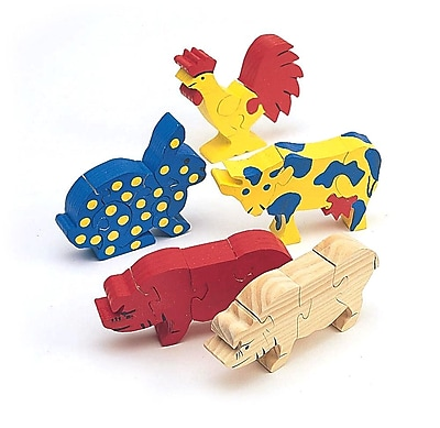 S&S® Unfinished Wooden Animal Puzzle, Unassembled Farm Animals, 12/Pack