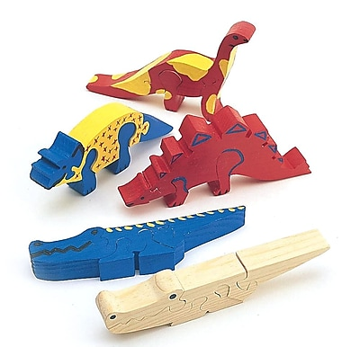 S&S® Unfinished Wooden Animal Puzzle, Unassembled Dinosaurs, 12/Pack