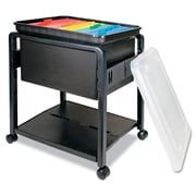 Advantus Folding Mobile File Cart, 1-Shelf, Black; Clear, Legal; Letter (AVT-55758)