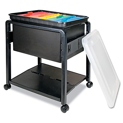 Advantus Folding Mobile File Cart, 1-Shelf, Black; Clear, Legal; Letter (AVT-55758)
