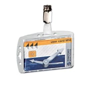 Durable Shell Style ID Card Holder With Clip, Clear, 10/Box