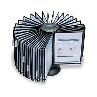 Durable Sherpa® Letter Carousel Desk System With 40 Pockets, Black