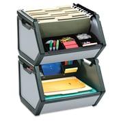"Find It® Letter Stackable Storage Bin, 15 3/4"" x 15"" x 14"", Gray"
