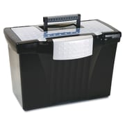 "Storex Letter/Legal Portable File Storage Box With Organizer Lid, 12"" x 14 1/2"" x 10 1/2"", Black"