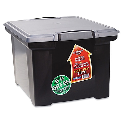 Storex Letter/Legal Portable File Tote Storage Box With Locking Handle, Black